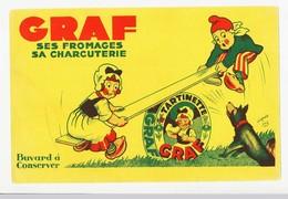Buvard 21.4 X 13.9  Fromages Et Charcuterie GRAF Balançoire Enfants Sabots Chien D'après Jaz - Produits Laitiers