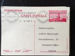 1936 Vimy Canadian Mémorial Entier Postal 1 - France
