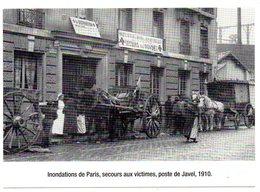 CPM   CROIX ROUGE  INONDATIONS DE PARIS   SECOURS AUX VICTIMES POSTE DE JAVEL 1910 - Rode Kruis