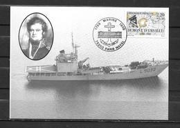 Batral DUMONT D'URVILLE - Carte Maximum  PARIS NAVAL 17-18/06/89 - Marcophilie (Lettres)