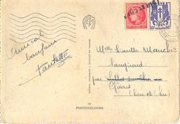 GRIFFE LINEAIRE LOIR-ET-CHER APPOSÉE Sur MAZELIN 1f YT 676 & CHAÎNES BRISÉES 50c. YT 673 - OMec FLIER PARIS 19.V 1946 - Poststempel (Briefe)