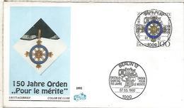ALEMANIA FDC 1992 BERLIN 150 AÑOS ORDEN POUR LE MERITE  MILITAR WAR - Militares