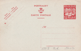 Entier  Postal Stationery N° 139 II - 1,75F Rouge - 1948 - Format 140x90 - Enteros Postales