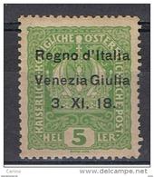 VENEZIA  GIULIA:  1918  SOPRASTAMPATO  -  5 H. VERDE-GIALLO  N. -  LONGHI  -  SASS. 2 - 8. WW I Occupation