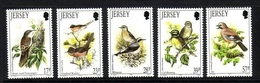 JERSEY MI-NR. 630-634 ** ZUGVÖGEL (I) 1993 EICHELHÄHER ZAUNAMMER - Jersey