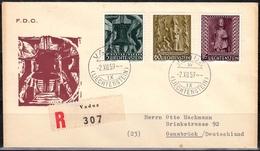 Liechtenstein MiNr. 386/88 Auf FDC Weihnachten, Kleiner Fleck - Liechtenstein