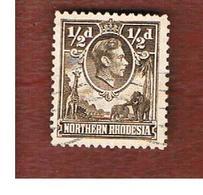 RHODESIA DEL NORD (NORTHERN RHODESIA)  -  SG 26 -   1951 KING GEORGE VI & ANIMALS (GIRAFFES, ELEPHANTS))    - USED ° - Rhodesia Del Nord (...-1963)