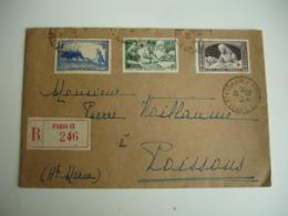 Lettre  Pour Poissons 1940 2 Timbre Croix Rouge Yt 459 Et 460 Plus 457 Recommande - Marcofilie (Brieven)