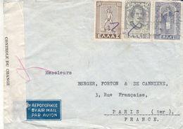 Grèce - Lettre De 1930 - Oblit Athène  ? - Exp Vers Paris - Ouvert Par La Douane - Greece