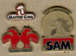 LOT 3 Pin's COQ - Animaux
