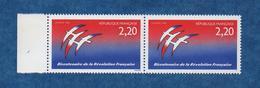 "FRANCE -VARIETE - 1989 - N++ -Bi-Centenaire Révolution ( Folon) Paire , 1 Exemp Sans Signature "" Yvert N° 2560 - Errors & Oddities"