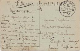 CPFM à L'escale De Port Saïd Par Un Militaire Embarqué Pour L'Indochine 1918 - Postmark Collection (Covers)