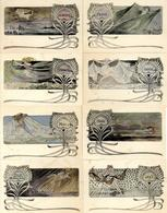 Jugendstil - 8 Dekor. Künstlerkarten Sign. LELEE Aus 10er-Serie (es Fehlen Nr. 4 Und 9) I-II Art Nouveau - Ohne Zuordnung