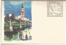 ALEMANIA DDR ENTERO POSTAL LONDON 90 PUENTE BRIDGE BIG BEN RELOJ CLOCK - Monumentos