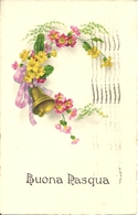 """Cartolina """"Buona Pasqua"""", Fiori Con Campanello, Thematic Stamp 20 Cent. Nozze Principe Umberto 1930 (S01) - Pasqua"""