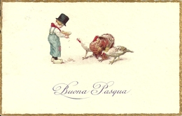 """Cartolina """"Buona Pasqua"""", Bambino Che Da Il Mangime Ai Polli, Thematic Stamp 20 Cent. Decenn. Marcia Su Roma 1932 (S03) - Pasqua"""