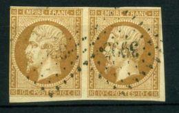 FRANCE ( POSTE ) : Y&T N°  13B ?  EN  PAIRE  TIMBRES  BIEN  OBLITERES , A VOIR . - 1853-1860 Napoléon III