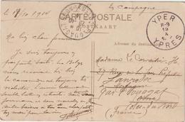 """CPFM 18/10/14 Ypres -> Plouagat """"cannonade Violente, Ennemi En Retraite"""" - Marcophilie (Lettres)"""