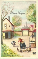"""Cartolina """"Buona Pasqua"""", Cortile Di Una Cascina, Ragazza Da Il Mangime Ai Polli (S10) - Pasqua"""