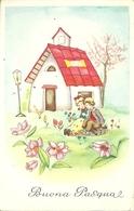 """Cartolina """"Buona Pasqua"""", Bambini Seduti Nel Prato (S12) - Pasqua"""
