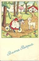 """Cartolina """"Buona Pasqua"""", Bambina Su Un Triciclo Di Legno E Pecorella (S13) - Pasqua"""