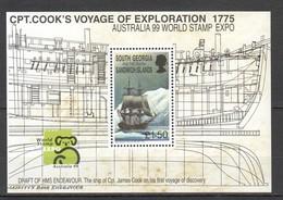J245 1999 SOUTH GEORGIA TRANSPORT SHIPS CPT. COOK'S VOYAGE AUSTRALIA EXPO !!! MICHEL 20 EURO !!! 1BL MNH - Schiffe