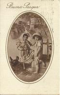 """Cartolina """"Buona Pasqua"""", Bambini E Chioccia (S15) - Pasqua"""