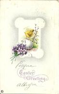 """Cartolina """"Buona Pasqua"""", """"Easter Greeting"""" Fiori E Uova Con Pulcino (S16) - Pasqua"""