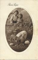"""Cartolina """"Buona Pasqua"""", Bambini Con Uova E Pecorella (S17) - Pasqua"""