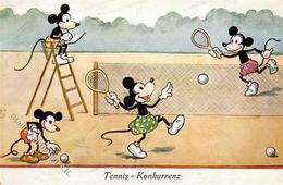 Micky Maus Tennis Künstler-Karte I-II - Ohne Zuordnung
