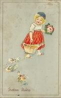 """Cartolina """"Buona Pasqua"""", """"Sretan Uskrs"""", Bambina Con Cesta Fiori E Pulcini (S19) - Pasqua"""