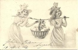 """Cartolina """"Buona Pasqua"""", Ragazze Che Trasportano Cesta Con Uova E Coniglietto (S20) - Pasqua"""