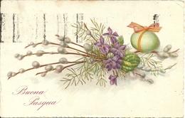 """Cartolina """"Buona Pasqua"""", Mazzo Di Fiori E Uovo (S23) - Pasqua"""