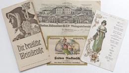Wein Lot Mit Broschüre Menu-Karte Beleg Und Etikett Vigne - Ausstellungen