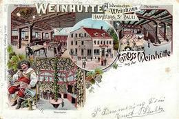 Wein St. Pauli (2000) Altdeutsches Weinhaus Weinhütte Lithographie 1899 II (Ecken Abgestoßen, Fleckig) Vigne - Ausstellungen