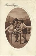 """Cartolina """"Buona Pasqua"""", Bambini Con Uovo E Pulcino (S24) - Pasqua"""