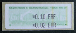 FRANCE - 2001 -24è CONGRES FFAP TOURS - 1999-2009 Abgebildete Automatenmarke