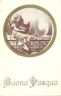 """Cartolina """"Buona Pasqua"""", Ragazza Seduta Sul Muretto E Uovo (S25) - Pasqua"""