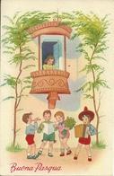 """Cartolina """"Buona Pasqua"""", Bambini Che Fanno La Serenata A Ragazza Sul Balcone (S26) - Pasqua"""
