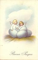 """Cartolina """"Buona Pasqua"""", Angioletti In Un Nido Pieno Di Uova (S27) - Pasqua"""