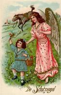 Schutzengel Kind  Prägedruck I-II - Engel