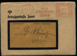 WW II DR Polen Brief Kreissparkasse : Gebraucht Mit Freistempel Jauer Schlesien - Semmelwitz 1936 , Bedarfserhaltung M - Briefe U. Dokumente