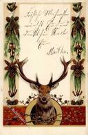Jagdtier Hirsch Lithographie 1902 I-II - Ereignisse