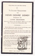 DP Henri D. Demey ° Watou Poperinge 1856 † 1929 X Leonie Graeschepe Graefschepe - Images Religieuses