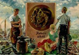 Politik WK II Arbeiterbewegung Maifeier Hitler Hindenburg Künstler-Karte I-II - Politik