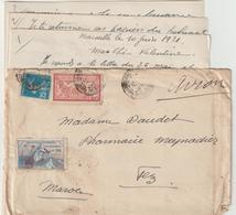 EAC/avion 1F25 Merson-Semeuse + Vignette Guynemer Marseille-> Maroc 1921 - Postmark Collection (Covers)