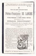 DP Petrus F. De Langhe / Troffaes ° Westkapelle Knokke-Heist 1841 † 1918 X Rosalia Snauwaert - Images Religieuses
