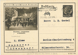 Bild-Ganzsache Hindenburg 6 Pfg - Marienbad Sudetenland  Kreuzbrunnen - Hannover 1940 - INternationale Leipziger Messe - Alemania