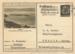 Bild-Ganzsache Hindenburg 6 Pfg - Lindau  Bodensee Ferieninsel - Breslau 1940 - Zustellpostamt Strasse Hausnummer - Germania