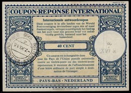 PAYS BAS / NEDERLAND Lo16u 40CENTIntern. Reply Coupon Reponse Antwoordcoupon IAS IRC O MONNIKENDAM 29.4.46 ( G20V ) - Postal Stationery